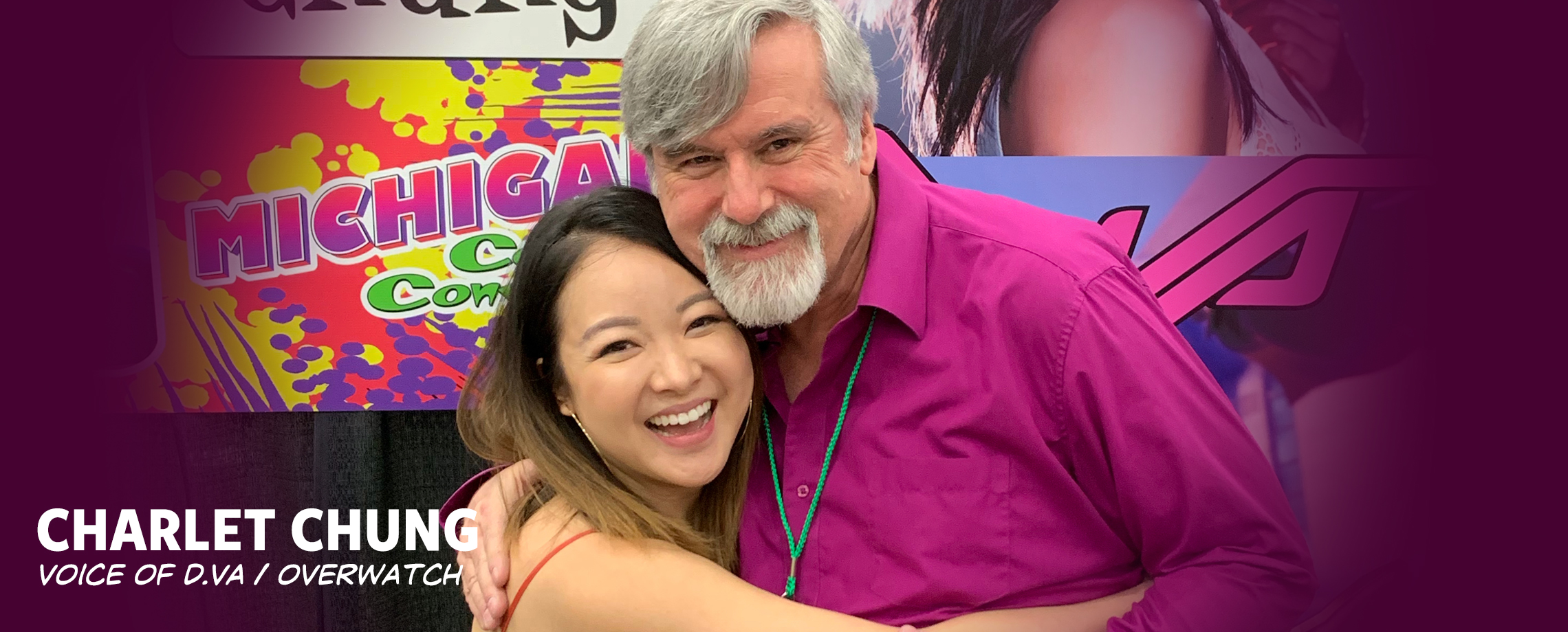 Michigan Comic Con 2019 - Bob West with Charlet Chung, Voice of D.Va